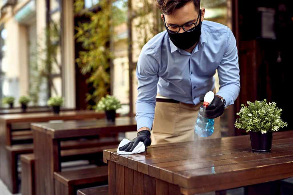 restaurant table disinfection by MCA team -  office cleaners toronto